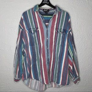 Vintage Striped Pastel Button Down Top
